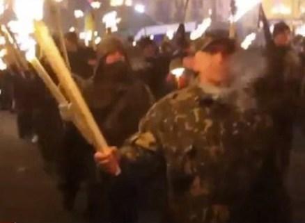 Lviv. Manifestazione di Svoboda.