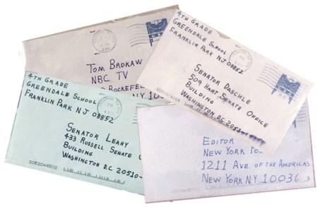 Le quattro lettere con all'interno la polvere d'antrace spedite al Congresso.