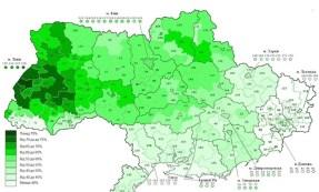 La distribuzione dei votanti sul territorio ucraino. Appare evidente che la maggior parte degli elettori è concentrata e ovest (dove sono molto forti i partiti di estrema destra), a nord e al centro. Scarsissima l'affluenza a sud e all'est, dove sono tradizionalmente forti il Partito comunista e i partiti russofoni.