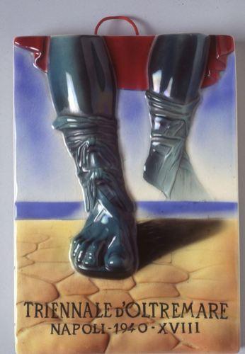Corrado Mancioli (Roma 1904 - 1958), Ugo Giammusso (Caltanissetta 1908 - Roma 1977) S.P.I.C.A., Albisola Triennale d'Oltremare Napoli-1940-XVIII, 1940 terracotta dipinta sotto vernice Wolfsoniana – Palazzo Ducale Fondazione per la Cultura, Genova