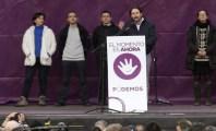 Pablo Iglesias durante il discorso conclusivo della marcia