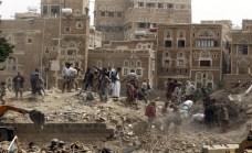 Il centro storico di Sanaa dopo i bombardanti della coalizione saudita