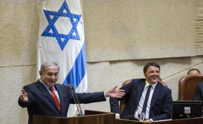 Matteo Renzi e Benjamin Netanyahu  alla Knesset