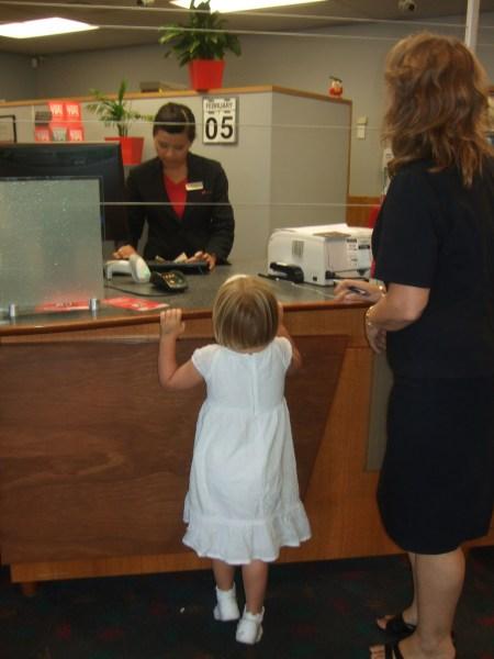 Making her first deposit
