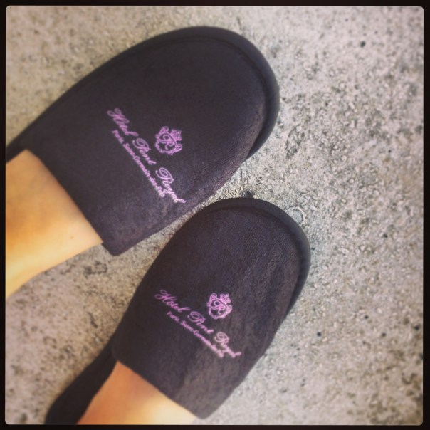 In my cosy Hotel Pont Royal slippers..