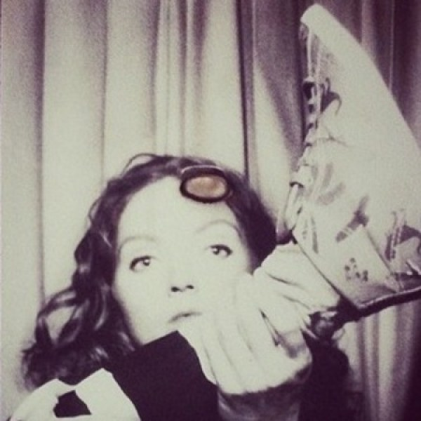 Lily Cole taking a selfie with her snazzy trainers on Instagram… © Instagram/Lily Cole