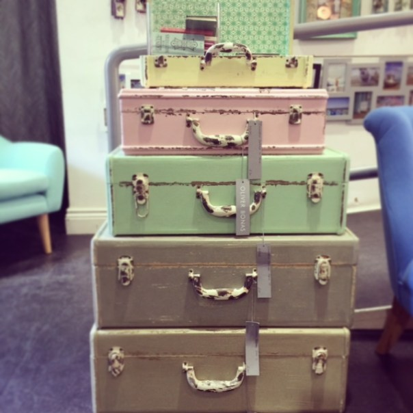 Popped into Oliver Bonas to have a nosey around.. love these gorgeous suitcases - perfect storage for me!