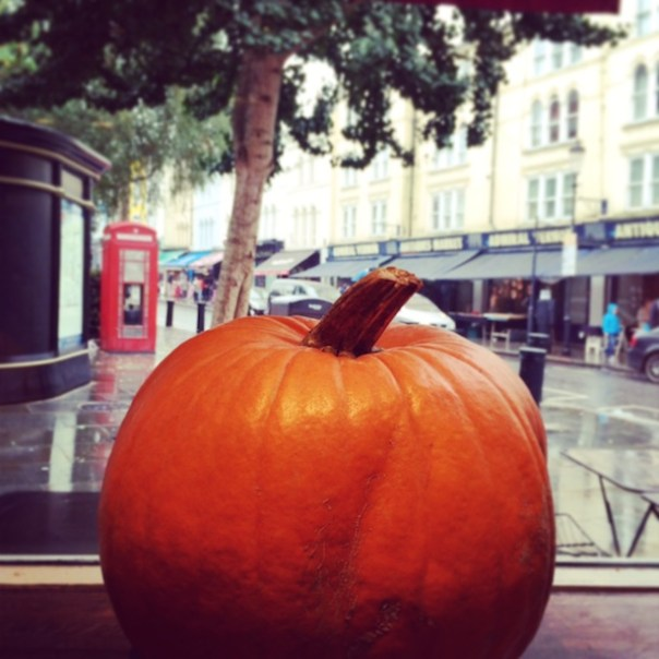 The hugest pumpkin ever in the window at Gail's on Portobello Road