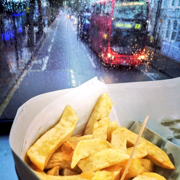 Chips on the bus from Maria's Chippy