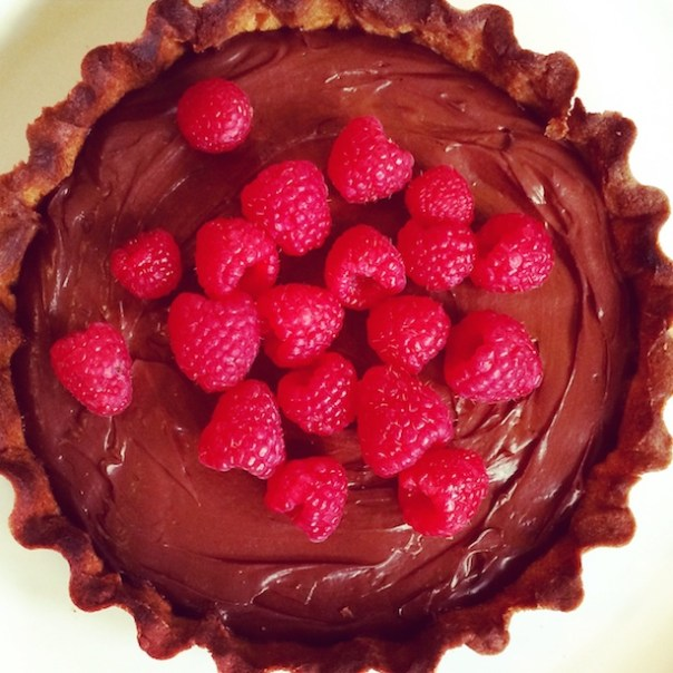 Suzy's chocolate tart with fresh raspberries