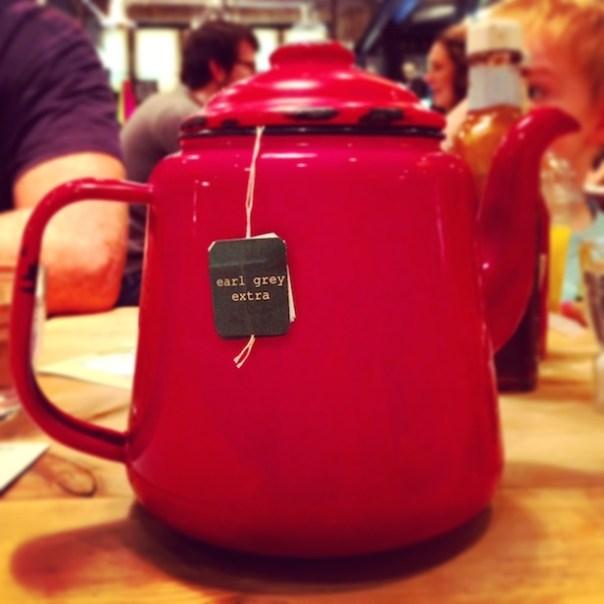 A giant pot of tea at Bill's in Wimbledon