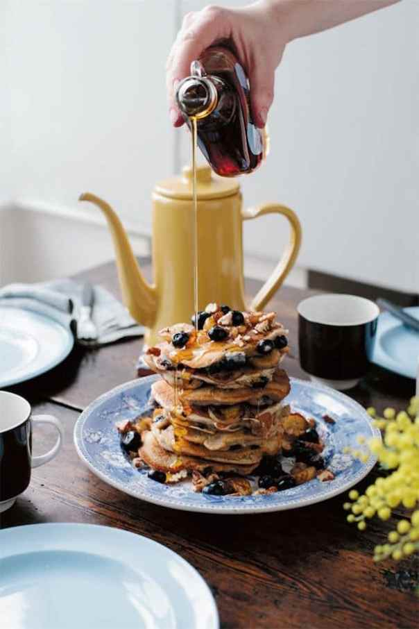 Banana blueberry and pecan pancakes (vegan and gluten free)