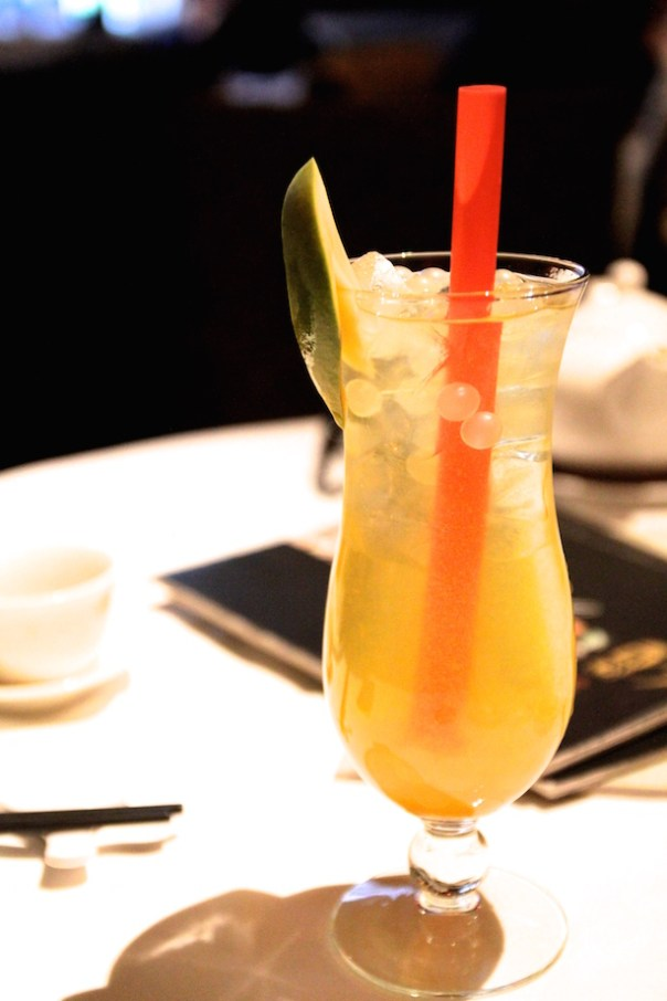 Mango and lychee bubble pearl tea cocktail