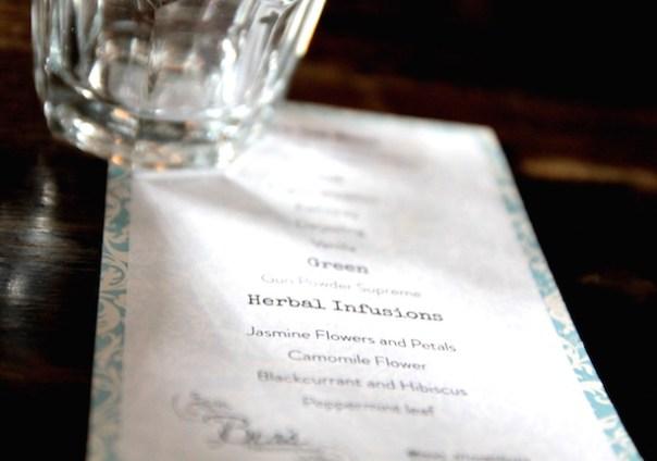 Beats of Bloomsbury menu