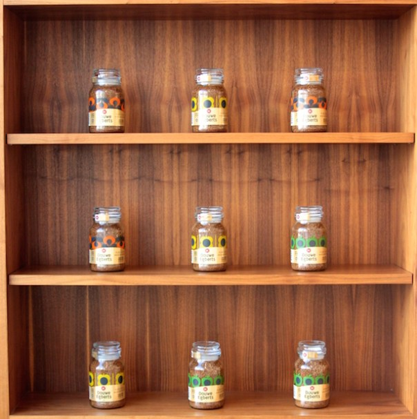 Orla Kiely jars on shelves
