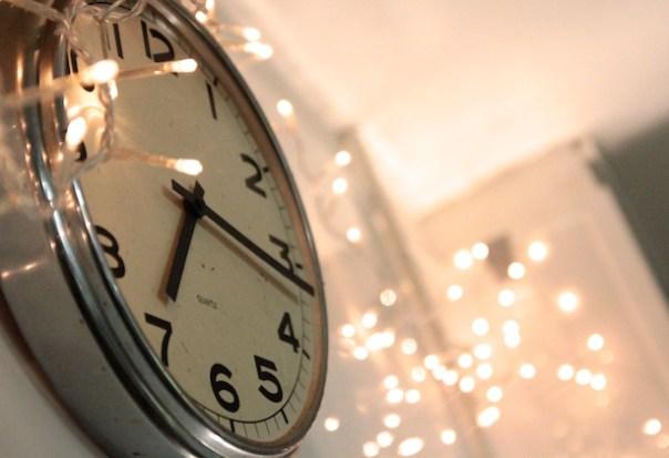 Clock and fairy lights