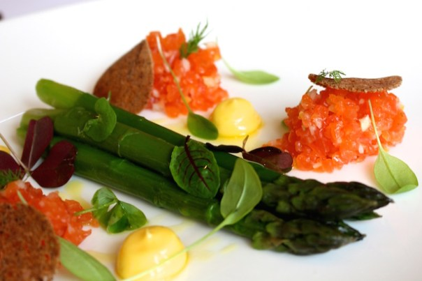 Cured sea trout, English asparagus, smoked mayonnaise