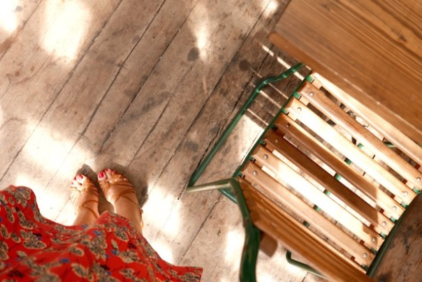 I love the wooden flooring and distressed furniture...