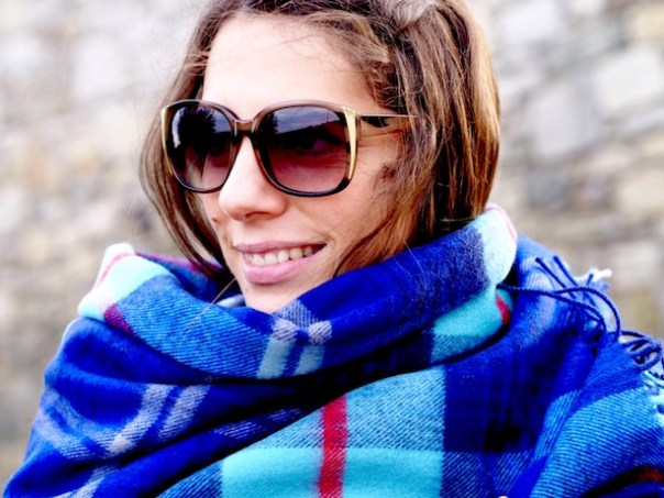 Scarf: Scotland Shop 'Help for Heroes' Tartan, Sunglasses: Accessorize