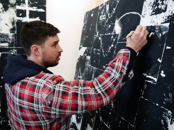 Rory Biddulph preparing for XL Catlin Art Prize in his studio, London April 2016 v2 colour by Aaron Hammond low res