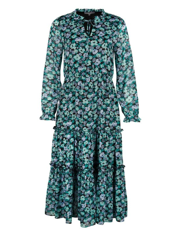 Floral Meadow Print Green Midi Dress