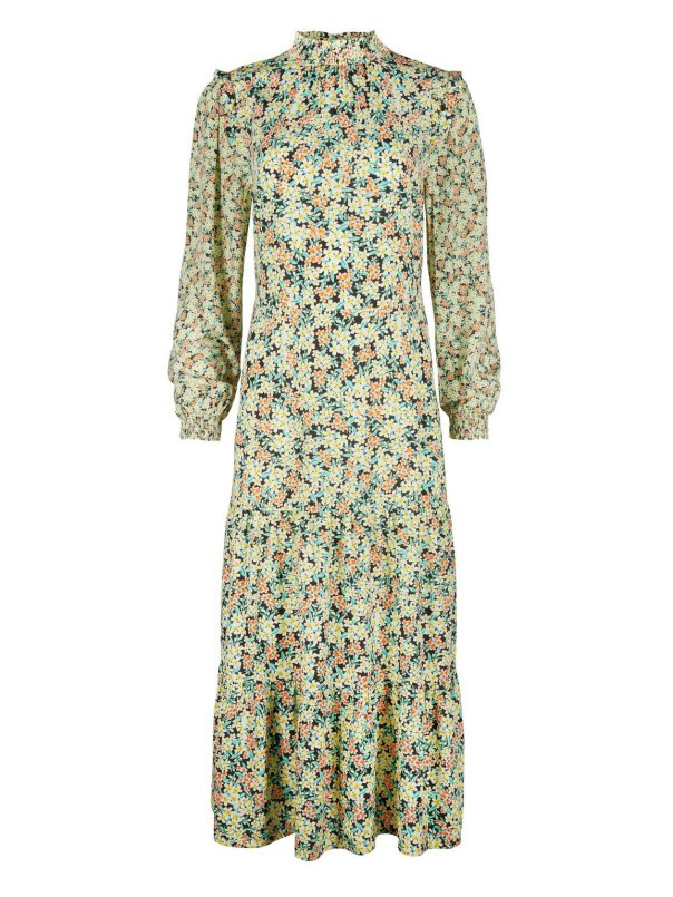 Cute Cluster Floral Print Yellow Maxi Dress