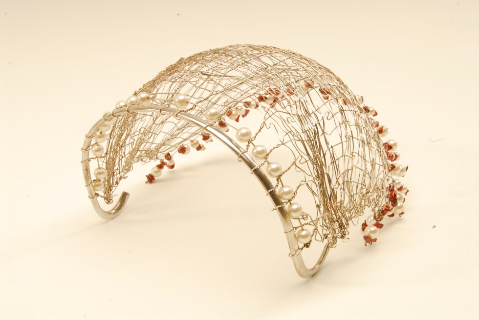 Woven silver bridal cap with freshwater pearls and garnets by Poppy Porter