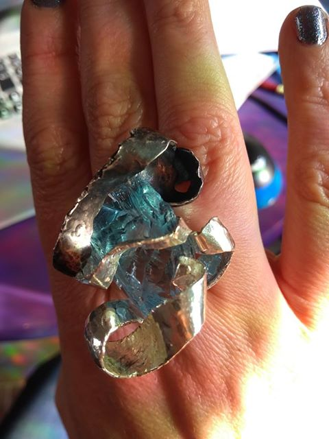 The Sky-Glass Ring, special commission large cocktail ringin two tone silver and found object blue glass fragment.