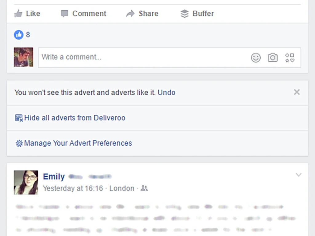 The options on Facebook when you choose to hide a post.