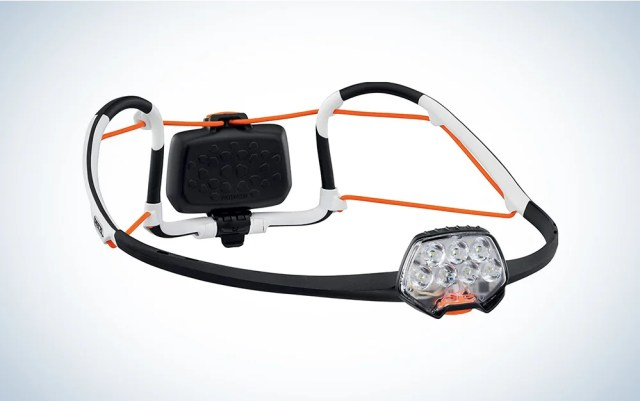 white black and orange headlamp