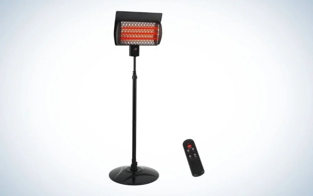 Black electric patio heater with remote control