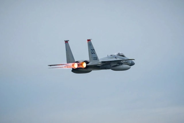 An F-15C takes off.