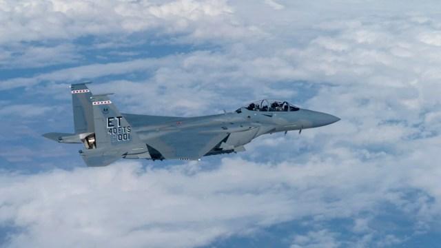 An F-15EX Eagle II in flight.