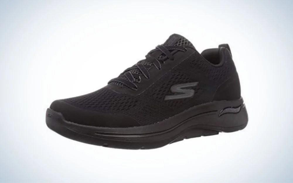 Black Skechers walking shoes for men