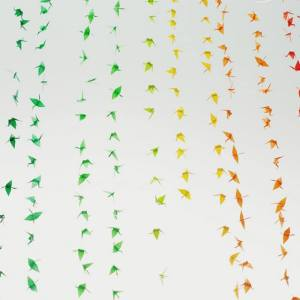 rainbow sculptures may 2014   Origami Crane Sculpture by Josh Davis   Sculptures at Pop Shop Houston Art Festival