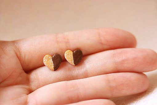 Heart Cookie Stud Earrings   Unique Jewelry and handmade Jewelry at Pop Shop America Online Shopping Website   Cute Jewelry at Pop Shop America
