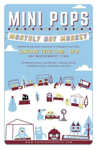 Mini Pops Monthly Art Market Poster January 2015 by Blake Jones Artist