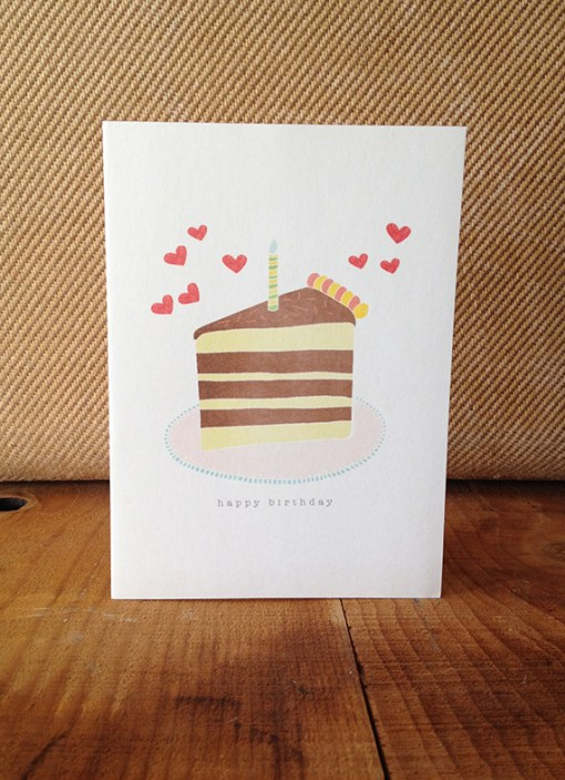 Birthday Cake Slice Happy Birthday Card Illustrated by Hazelmade Handmade Birthday Cards at Pop Shop America