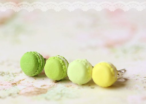 Green Macaron stud Earrings Kawaii Jewelry Food Earrings
