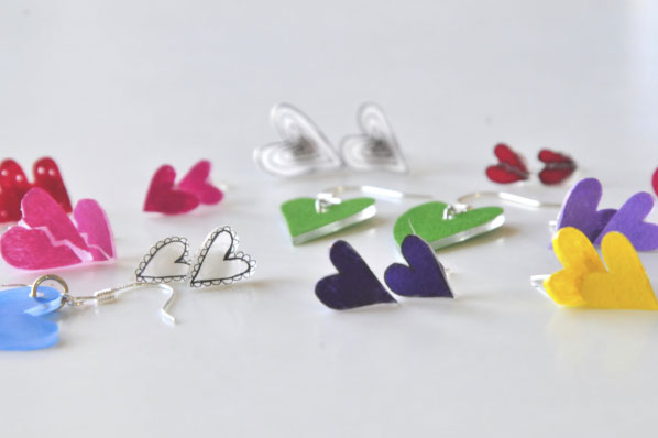 How to Make Heart Earrings for Valentine's Day   DIY Earrings   Valentine's DIY's   Rainbow Heart Earrings with Shrinky Dinks