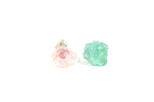 Watermelon Tourmaline Stud Earrings