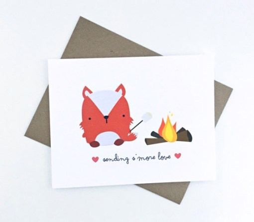 cute fox camping card love card paper goods at pop shop america online shopping website