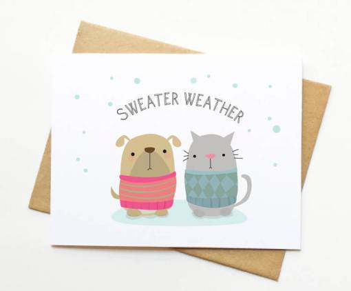 X Mas Card by Le Trango | illustrated cards | cat and dog wearing ugly christmas sweater | shop handmade cards at pop shop america