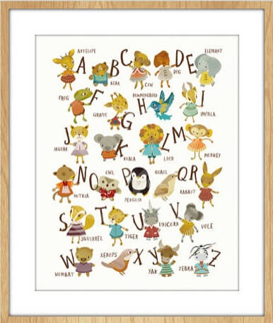 alphabet print in frame nursery art prints by sabine reinhart | animals art | shop animal prints at Pop Shop America
