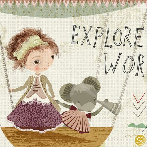 detail of explore the world sabine reinhart print   detail of girl and mouse in a hot air balloon   illustrated art by sabine reinhart   nursery art at Pop Shop America