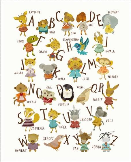 full alphabet kids art print nursery prints | alphabet art with cute animals | Shop Handmade Nursery Items | Shop Handmade Kids at Pop Shop America