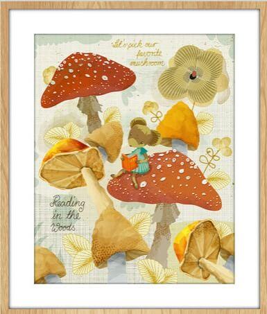 mushroom print childrens art prints | mouse sitting on a mushroom | art for kids | shop children's handmade at Pop Shop America Online Boutique
