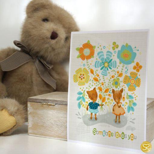 someone loves you childrens art print with background   deer art prints   shop handmade craft art at Pop Shop america