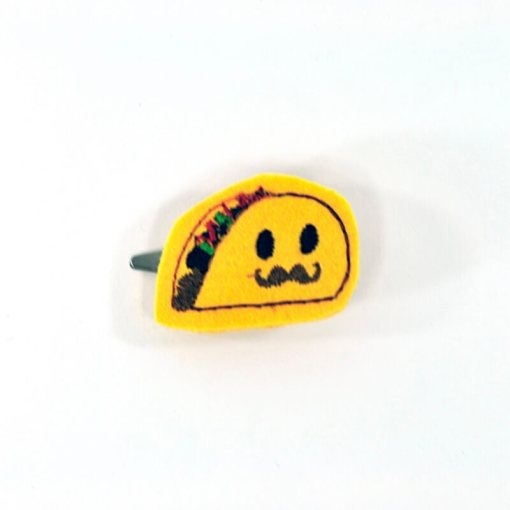taco with mustache barrette 1 | Handmade Anime Barrettes Shop Local for Cool Fashion