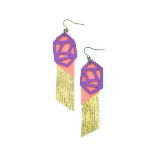 Fringe Leather Earrings Geometric Earrings Gold Metallic Earrings Purple and Peach Earrings